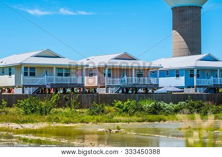 Padre Island Ns, Tx, Usa - April 20, 2019: A Random Classic And Colorful Beautiful House