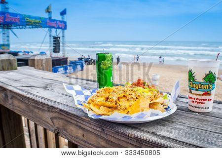 South Padre Island, Tx, Usa - March 3, 2019: Clayton Spring Break Biggest Beach Bar