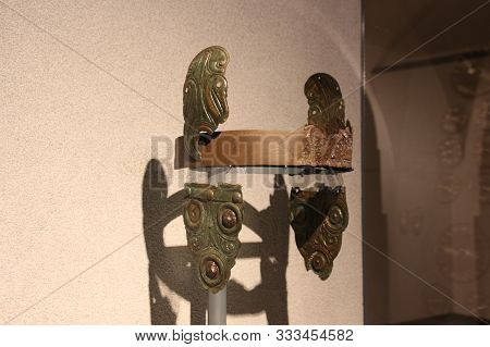 Italy, Brescia - December 24 2017: The View Of Ancient Headpiece In The Museum Of Santa Giulia On De