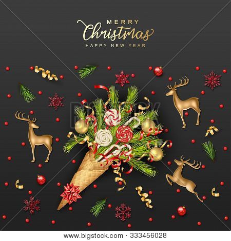 Christmas And New Year Holidays Background. Decorative Waffle Cone With Branches Of Christmas Trees,