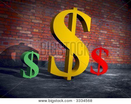 A Cg Rendering Of A Trio Of Dollar Logos..