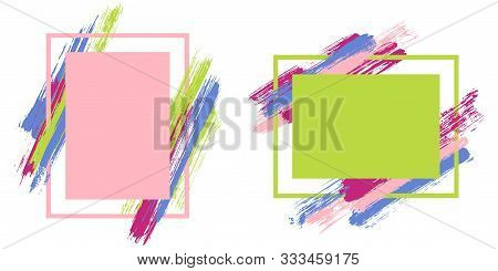 Advert Frames With Paint Brush Strokes Vector Collection. Box Borders With Painted Brushstrokes Back