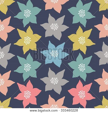Stylised Floral Seamless Pattern Background. Vector Repeat Design Of Flowers In Vintage Colours.