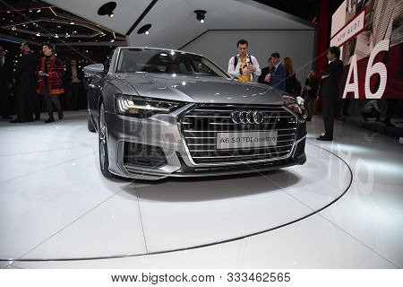 Geneva, Switzerland, March 06-2018: Audi A6 Limousine 50 Tdi Quattro At Gims