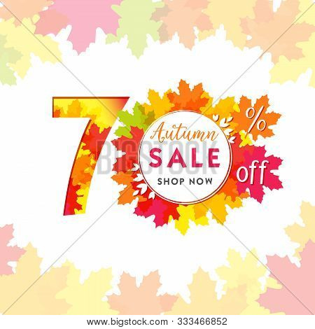 70 Autumn Red Logotype. Colorful Foliage, Frame And White Paper Background. Calendar Numbers Idea. 7
