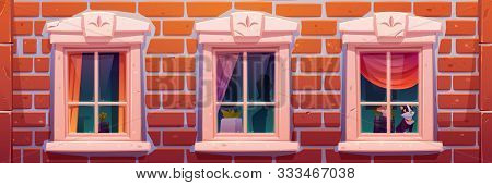 Windows Of House Or Castle, Brick Wall Facade With Vintage Casements Decorated With Curtains And Hom