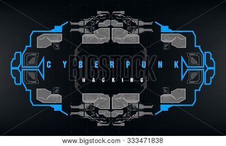 Cyberpunk Hacking Futuristic Poster With Futuristic Hud Elements, Abstract Background. Modern Flyer