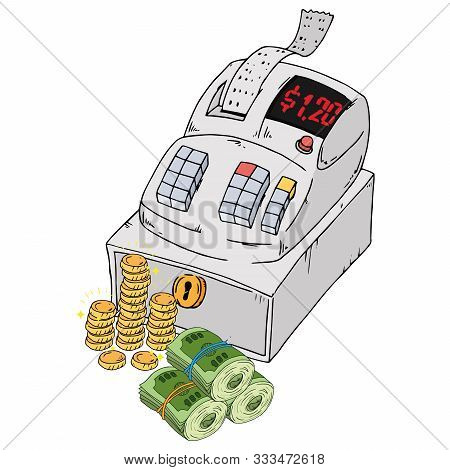 Cash Register Icon. Vector Of A Cash Register With Check And Bill. Hand Drawn Cash Register For A St