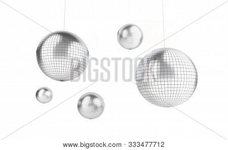 Disco, Discoball On A White Background 3d Illustration, 3d Rendering