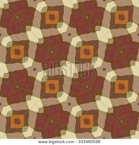 Retro Trendy Cool Brown Ochre Zig Zag Seamless Design Texture Pattern