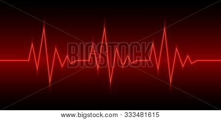 Neon Heartbeat Or Pulse. Vector Illustration. Red Line Of Heart Rate. Heart Pulse Graphic. Neon Hear