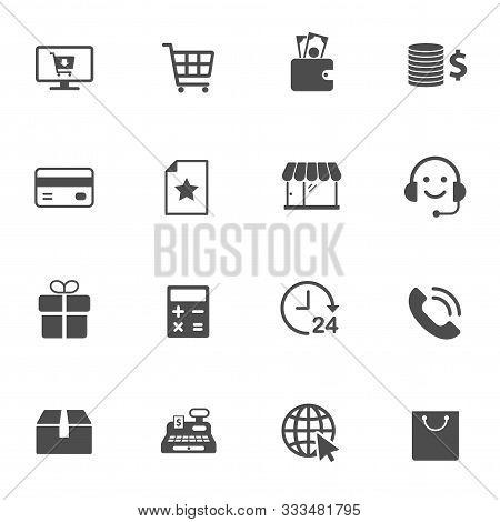 E-commerce Vector Icons Set Isolated On White Background. Business Commerce Comcept. E Commerce Flat