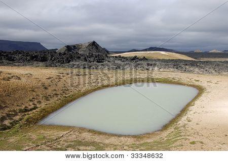 Geothermal lake near Krafla volcano, Northeast Iceland. poster