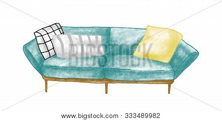 Retro Sofa Hand Drawn Vector Illustration. Room Furnishing, Home Interior Item. Soft Settee, Couch W