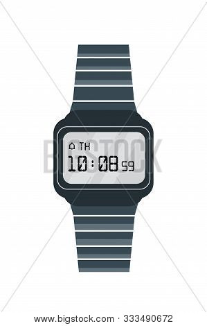 Old Electronic Watch Flat Vector Illustration. Retro Wristwatch Isolated On White Background. Trendy
