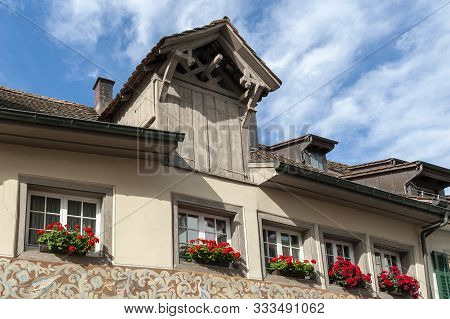 Stein Am Rhein, Switzerland - October 2019: Doors And Windows Of Old Building At Rathausplatz, A Tow