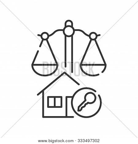Arbitration Court Line Black Icon. Business Property Concept. Real Estate Law Element. Sign For Web