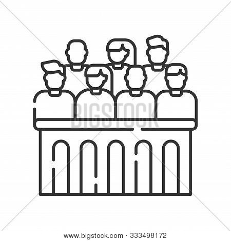 Jury Trial Line Black Icon. Courthouse Concept. Decision On A Disputed Issue In A Civil Or Criminal