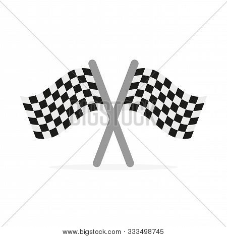 Two Crossed Finishing Flags In Flat Design. Vector Illustration. Checkered Finish Flags, Isolated On