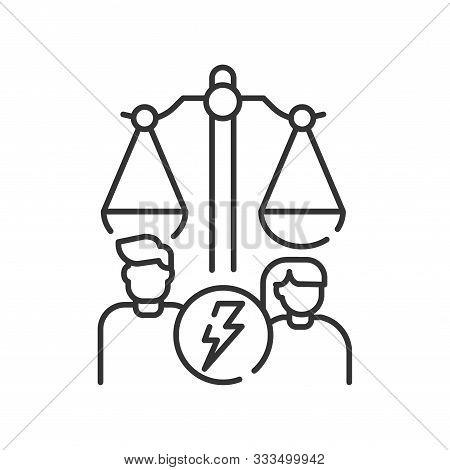 Divorse Line Black Icon. Judiciary Concept. Family Law. Sign For Web Page, Mobile App, Button, Logo.