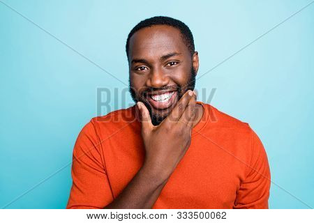 Closeup Photo Of Attractive Dark Skin Guy Toothy Beaming Smiling Touch Cheekbones Check Beard Growth