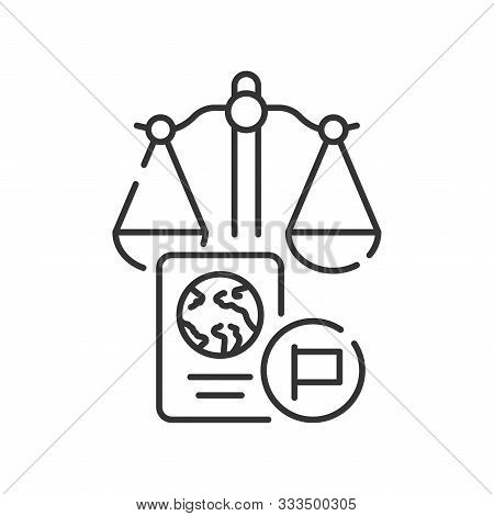 Customs Court Line Black Icon. Judiciary Concept. Immigration Law Element. Sign For Web Page, Mobile