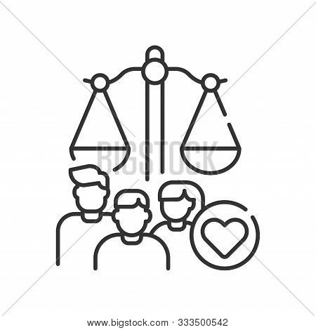 Family Court Line Black Icon. Judiciary Concept. Child Custody. Sign For Web Page, Mobile App, Butto