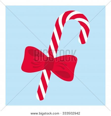 Icon With Candy Cane. Color Simple Design. Colorful Vector Illustration. Holiday Greeting Card. Merr