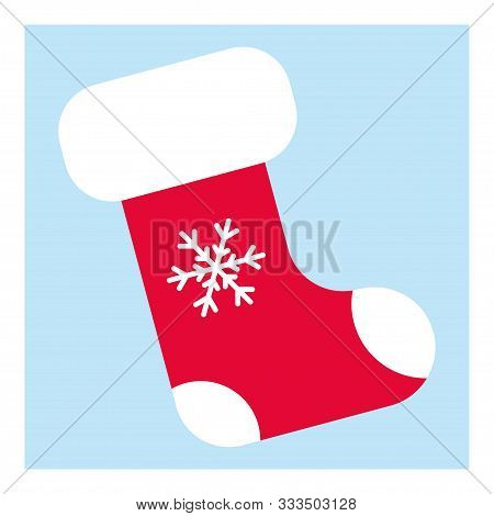 Vintage Flat Illustration With Red Stocking On Blue Background For Marketing Design. Christmas Stock