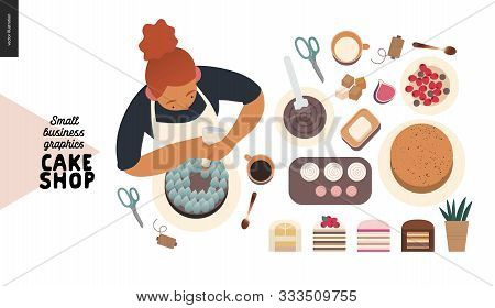 Cake Shop, Cakes On Demand - Small Business Graphics - Process -modern Flat Vector Concept Illustrat