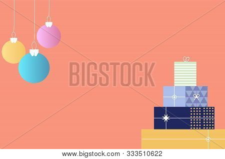 Merry Christmas, Chirstmas Ball And Gift Box On Pastel Background Vector