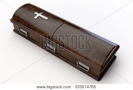 A Dark Modern Wooden Coffin With A Chrome Handles And A Crucifix On An Isolated White Studio Backgro