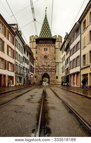 Basel, Switzerland - November 04, 2019. View Of Spalentor Gate On Spalenvorstadt Street In   Basel,