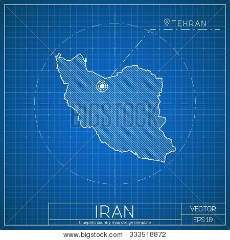 Iran Blueprint Map Template With Capital City. Vector Illustration.