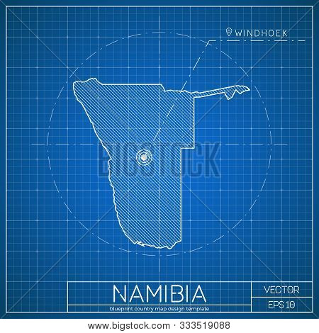 Namibia Blueprint Map Template With Capital City. Vector Illustration.