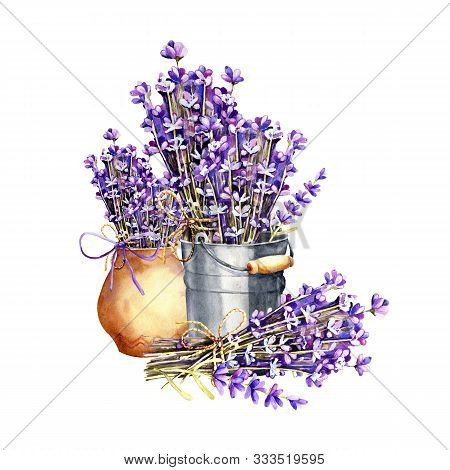 A Bouquet Of Lavender Flowers, Twigs Tied With Twine, A Bundle In An Aluminum Bucket And Clay Cerami