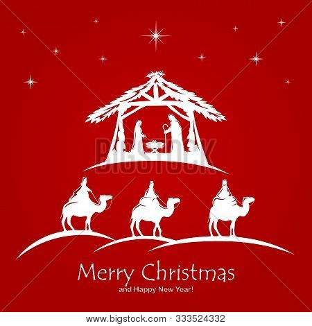Christian Christmas. Birth Of Jesus, Shining Star And Three Wise Men On Red Background. Illustration