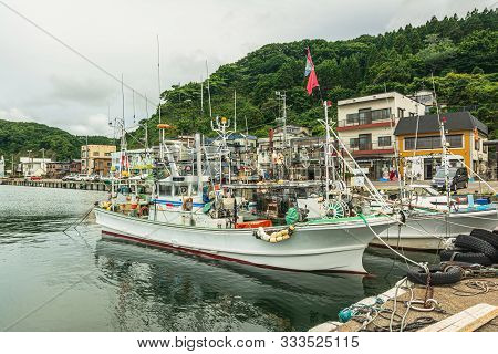 View Of Fishing Boats In The Port Of Kodomari In Aomori Prefecture, Honshu, Japan