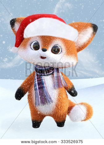 3d Rendering Of An Adorable Cute Happy Furry Cartoon Fox Wearing A Santa Hat And A Scarf, Standing I