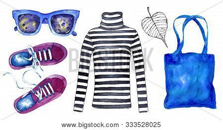 Watercolor Cute Fashion Set In Parisian Autumn Style. Hand Painted Elements Isolated On White Backgr