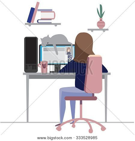 Young Female Or Teenage Girl Character Works On A Computer At Home. Workaholic. Freelance. Study Onl