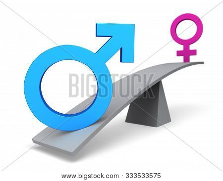 3d Illustration Of A Blue Male Icon Outweighing A Pink Female Icon On The Oposite End Of A Gray Bala