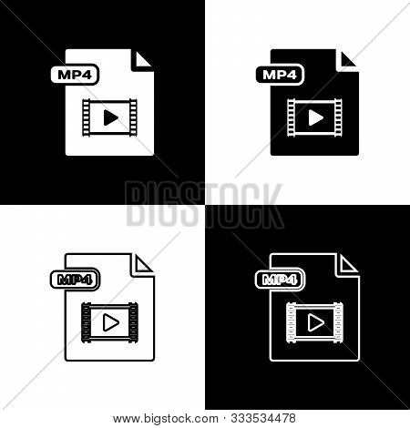 Set Mp4 File Document. Download Mp4 Button Icon Isolated On Black And White Background. Mp4 File Sym