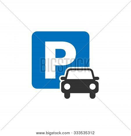 Car Parking Icon In Flat Style. Auto Stand Vector Illustration On White Isolated Background. Roadsig