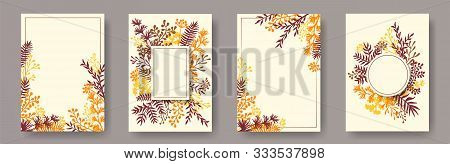Hand Drawn Herb Twigs, Tree Branches, Leaves Floral Invitation Cards Templates. Bouquet Wreath Elega