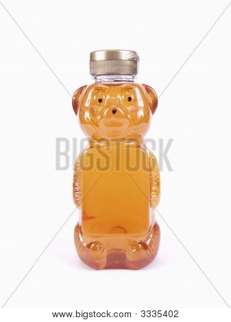 A full Honey Bear Bottle and silver cap isolated on a white background poster