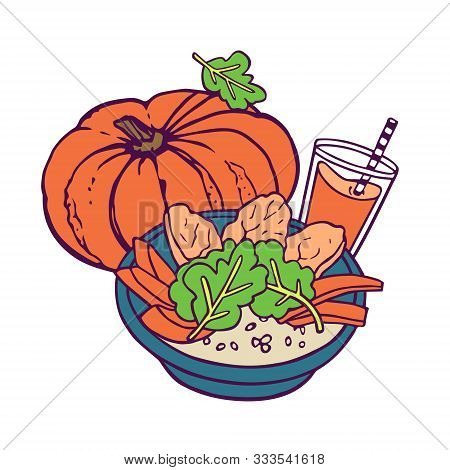Pumpkin Healthy Meal And Juice Or Smoothie. Hand-drawn In Cartoon Style, Colored Artwork Isolated On