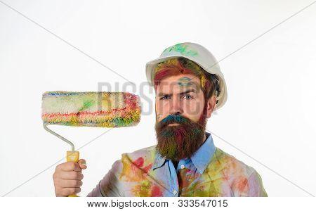 Painter Man. Painter Man With Paint Roller And Helmet. Repairman, Tradesman. Professional Painter. B
