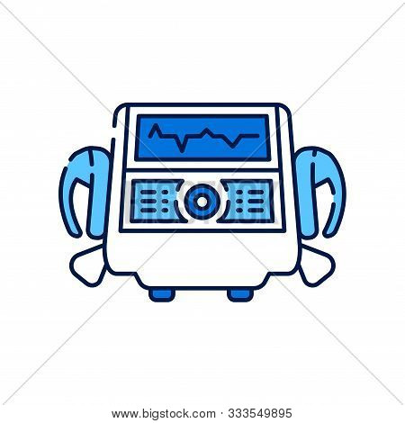 Defibrillator Line Color Icon. Electropulse Therapy Of Heart Rhythm Disorders Concept. Sign For Web