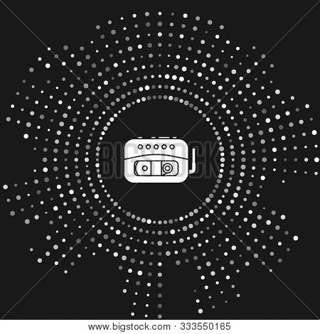 White Music Tape Player Icon Isolated On Grey Background. Portable Music Device. Abstract Circle Ran
